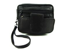 UNISEX LORENZ TRIPLE ZIPPED BLACK LEATHER BELTBAG WITH WRIST STRAP & PHONE POUCH