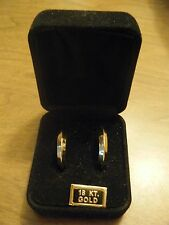 """18K 750 Yellow Gold Hoop Earrings 1"""" Milor ITALY Polished Excellent Cond 2.2g"""
