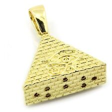 "Men's Gold Plated Eye of Horus Egypt Pyramid Pendant with 3mm 24"" Franco Chain"