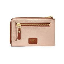 FOSSIL GWEN ZIP PALE ROSE GOLD METALLIC LEATHER,COIN PURSE,WALLET,POUCH,WRISTLET