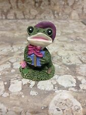 Frog wearing a bonnet holding a present figurine-rose-country-home decor