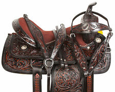 16 17 18 BLACK BARREL RACING PLEASURE TRAIL WESTERN LEATHER HORSE SADDLE TACK