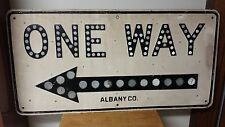 "UNBELIEVABLE RARE LARGE VINTAGE REFLECTOR ONE WAY ARROW SIGN CAT'S EYES 40""x 20"""
