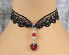 Classic Goth Black Lace Choker Necklace Red Heart Pendant Victorian jewelry