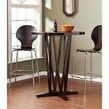 Round Bar Table Wood Counter Height Bistro Dining Furniture Pub Brown Kitchen