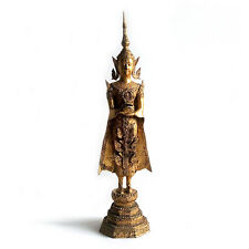 Antique Thai Rattanakosin Period Gilt & Lacquered Bronze Standing Buddha, 19th C