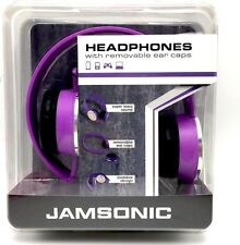 Purple Headphones with Removable Ear Caps Foldable Super Bass Jamsonic New