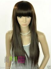 FIXSF509 free shipping long straight dark brown cosplay Hair wig Wigs for women
