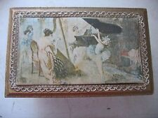 Florentine Gold Painted Wood Jewelry Music Box Fabric scene w Ballerina On top