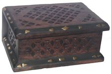 Wooden Handmade Carved Rustic Jewelry Box/ Treasure Chest