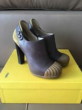 Fendi $795 Brown Leather Boots In Size 37--6.5 US ! Worn Twice !