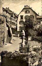 Meersburg am Bodensee alte Postkarte 1955 gelaufen Partie am Bärenbrunnen Treppe