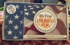 MY FIRST AMERICAN FLAG Kit Flag & Book for Kids Gift Boxed NIP July 4 Patriotic