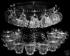 39 Pc. Anchor Hocking WEXFORD 18 Cup Punch Bowl Set w/Base & Ladle Crystal Clear