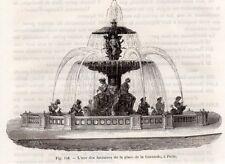 GRAVURE 1890 ENGRAVING PARIS PLACE DE LA CONCORDE FONTAINE
