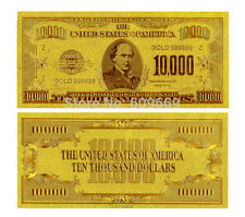 10000$ TEN THOUSAND US DOLLARS BANKNOTE GOLD FOIL 24K
