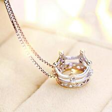 Imperial Princess Pendant Crown Necklace Silver Plated