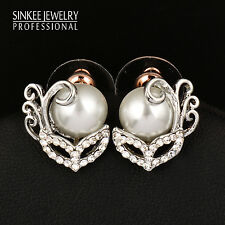 Unique Design Mask Pearl Stud Earrings Silver Plated Bride Wedding Pearl Jewelry
