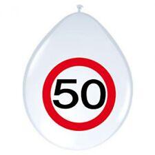 8 Luftballons Party Deko zum 50. Geburtstag Ballon Zahl im roten Warnkreis