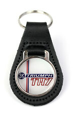 Triumph TR7 Leyland Logo Quality Black Leather Keyring