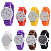 Silicone Rubber Jelly Gel Quartz analog Sport Ladies Mens Wrist Band Watch