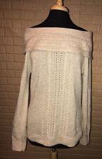 White House Black Market beige sparkly Blend Off Shoulder Sweater L cable