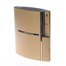 Textured Gold Carbon Fibre Playstation PS3 Fat decal skin  cover wrap