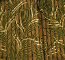 "Silk BROCADE Fabric BROWN & GREEN FERNS 11""x14"" remnant"