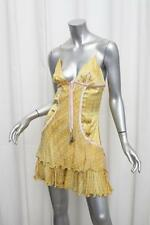 ROBERTO CAVALLI Womens Yellow Silk Satin Polka-Dot Ruffle Slip Cocktail Dress S