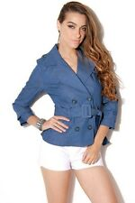 French blue chambray double-breasted cropped trench by Have & Have Size S