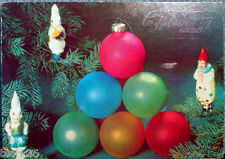 1991 Russian card  HAPPY NEW YEAR! Xmas tree decorations: balls, rabbits, clown