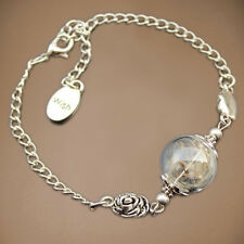 Campestral New Dandelion Seed Wish Glass Ball Silver Charm Indian Retro Bracelet