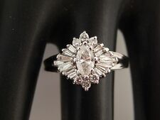 Designer Marquise Ballerina Diamond Engagement Ring 1.31 tcw G/SI 14k White Gold