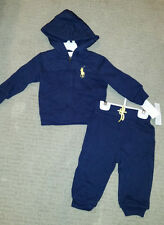 Ralph Lauren Boys 24M 2 Piece Quilted Hoodie Sweatshirt and Pants  NWT Sold $65