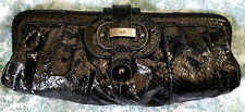 RAFE NEW YORK BLACK EMBOSSED SNAKESKIN HANDBAG CLUTCH PURSE MINT!