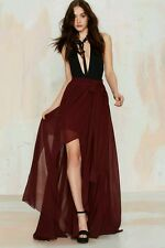 Nasty Gal Gift of Wrap Burgandy Chiffon Maxi Skirt sz XS Oxblood Belted Sheer
