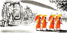 Original Oil Painting – Temple Scene at Angkor Wat with Four Monks walking  5103