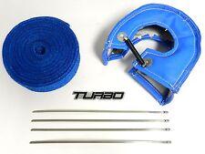 BLUE T3 TURBO BLANKET + 50' THERMAL HEAT WRAP + 4 STEEL TIES + FREE EMBLEM C
