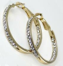"Gold Hoop Earrings 1 1/8"" Clear Crystal CZ Inside Outside Metal Alloy"
