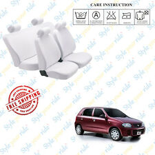 Car Seat Covers Denim Cotton (White) - Complete Set For Maruti Suzuki Alto K10