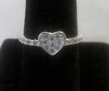 HEART SHAPED CLEAR RHINESTONES RING SIZE 7 3/4 SILVER PLATE WITH A FREE RING BOX