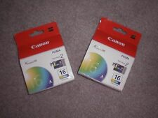 Lot of 2 Canon 16 BCI-16 Color Twin Pack Ink Cartridges