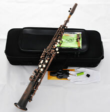 Professional TaiShan Red Antique Soprano Saxophone Bb High F# Sax 2Neck new Case