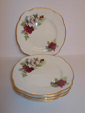 6 x Duchess Bone China Side Cake Plates Pink White Rose Floral Design Lovely