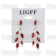 "2""long LEAF CHANDELIER EARRINGS red rhinestone SILVER TONE LEAVES drop GIFT BAG"