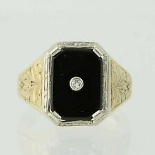 Art Deco Onyx & Diamond Ring - Gold Filled & 18k Gold Men's Vintage .04ctw
