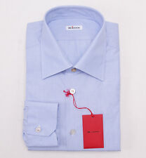 NWT $750 KITON Sky Blue End-on-End Cotton Dress Shirt Slim-Fit 18 x 37 + Box