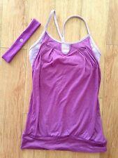 Lululemon Let it Loose Tank in Dewberry Purple Miscrostripe & Headband-Size 4 XS
