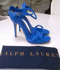RALPH LAUREN COLLECTION DAKOTA LAPIS BLUE LEATHER SANDAL HEELS 8.5 6 £455!