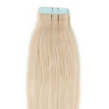 "18"" Tape In Remy Real Human Straight Hair Extensions 10pcs 25g #24 Pale Blonde"